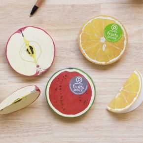 Stationery, fruits block